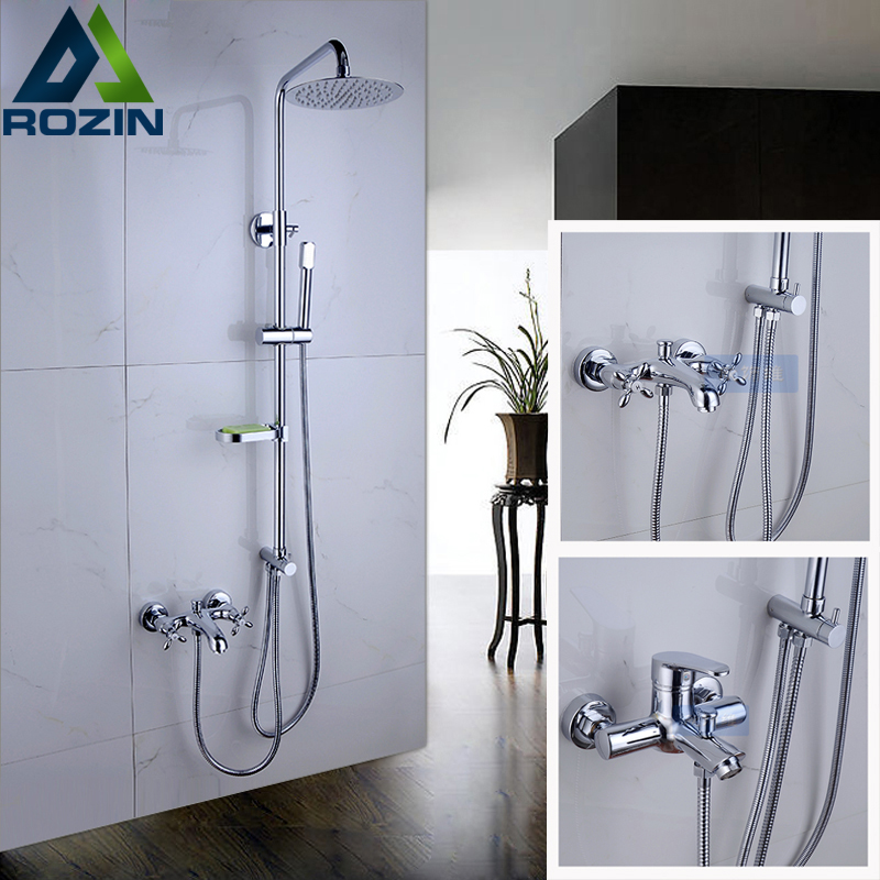 Luxury Shower Faucet With Soap Dish Holder Chrome Brass 8