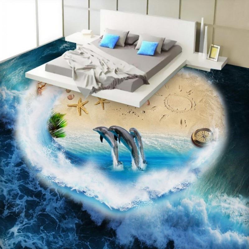 Free Shipping custom Aegean Sea World 3D stereo flooring mural bedroom bathroom Self-adhesive floor wallpaper free shipping custom anti skidding thickened bathroom chinese mural wallpaper flooring sea world dolphin sea turtle 3d