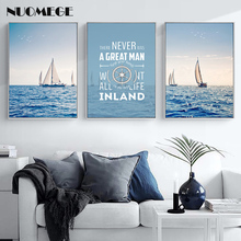 Modern Minimalist Canvas Painting Sailing Sailboat Mediterranean Poster and Prints Nordic Decorative painting For Living Room