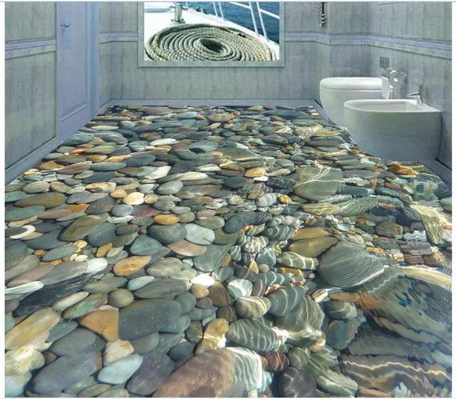 Kundenspezifische 3d Fototapete Boden Malerei Tapete 3 D Wasser Cobble Bodenfliese Dekoration Wohnzimmer