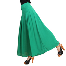 2017 Summer New Casual Fat Leg Pants Women's Plus Size High Waist Wide Leg Pants Solid Color Chiffon Long Trousers