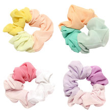 2pcs Candy color Chiffon Hair Scrunchies For Ponytail Holder Lady Elastic Headbands Women Tie Gum for Accessories
