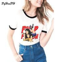 Summer Funny Women T Shirt Movie Print Pulp Fiction Mia Wallace Hip Hop White Slim Ladies T Shirt   Tops