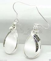 DARMOWA WYSYŁKA Najnowsze Moda 15*26mm clear white opal 925 Sterling Silver Markasyt Kolczyki
