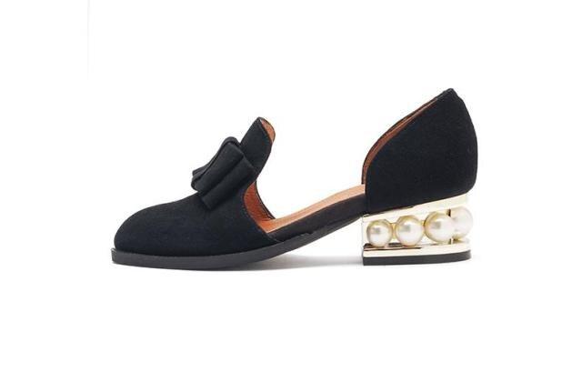 ФОТО New Arrival Black Butterfly knot Flock Women Pumps Pearl Embellished Women Single Shoes Low Heel Square Heel Slip on Women Shoes