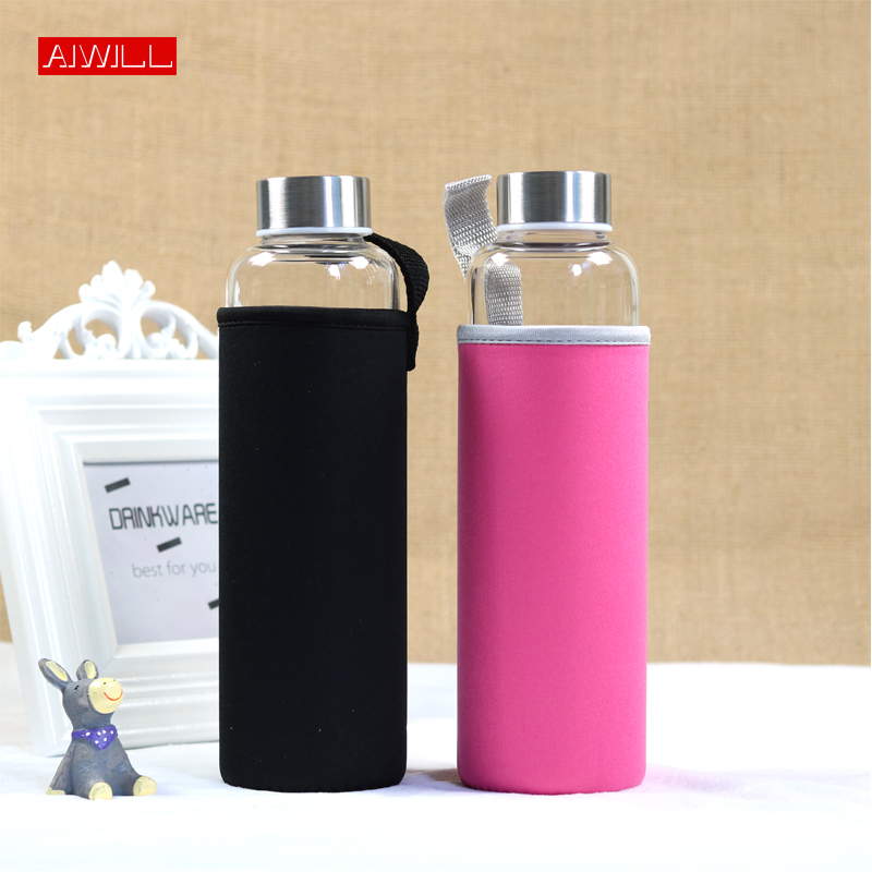 AIWILL Hot Selling Glass Sport Water Bottle With Protective Bag 280ml / 360ml / 550ml Fruit Outdoor Bike Bottles High Quality image