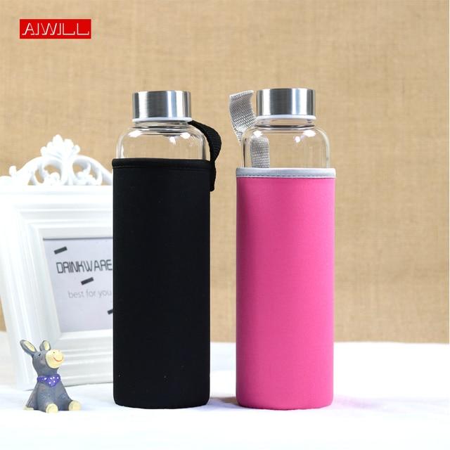 AIWILL gorąca sprzedaży szklana sportowa butelka na wodę z obudowa ochronna 280ml / 360ml / 550ml butelki na rower owocowy wysokiej jakości