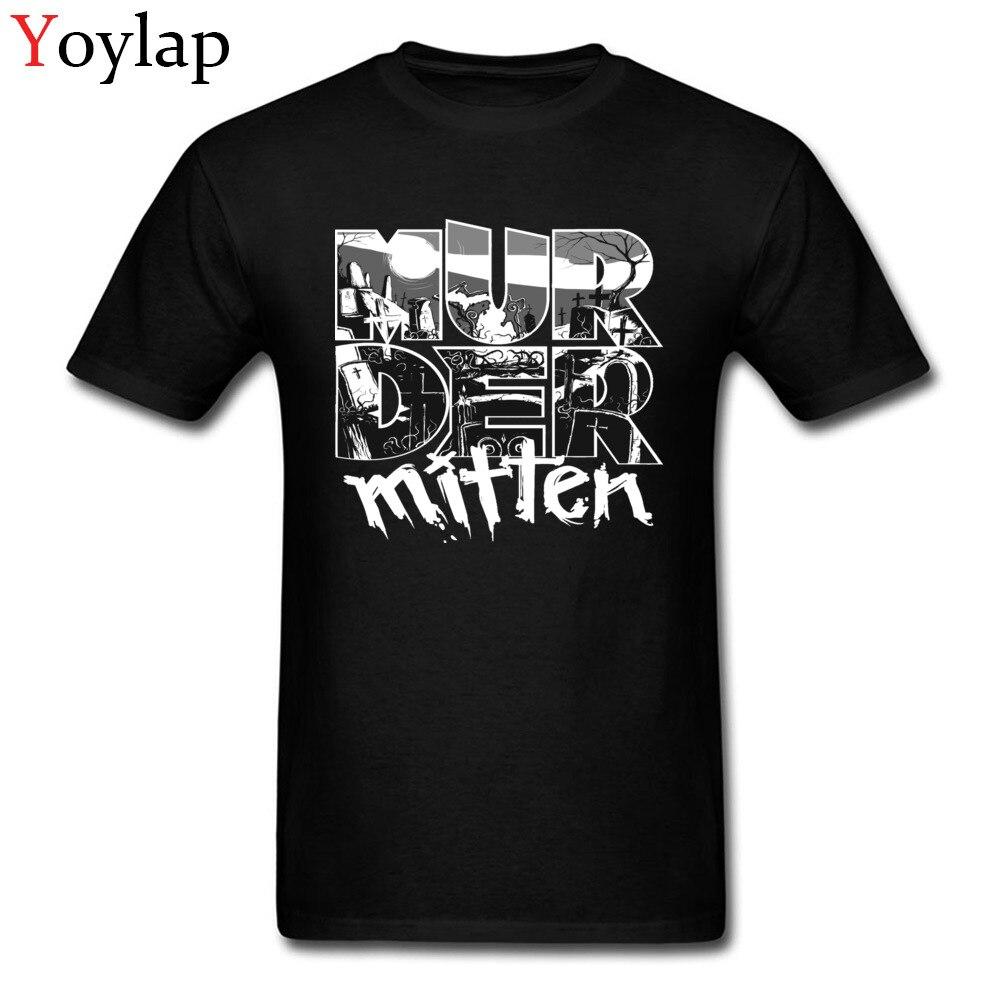 Large Size T-shirt Murder Letter Mitten Print Men Cool Black T Shirts Cotton Custom Tops Tees For Teens