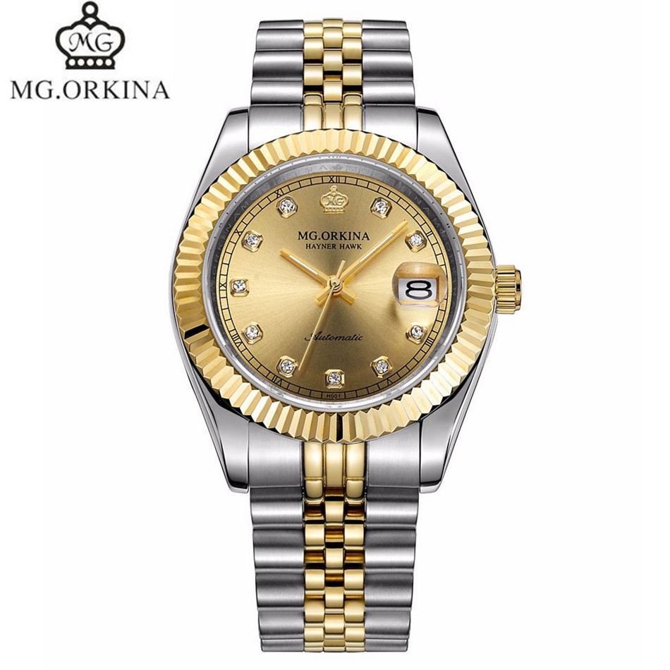 2017 MG.Orkina Luxury Mens Crystal Sapphire Day Auto Mechanical Wristwatch Waterproof with Orignial Box Free Ship