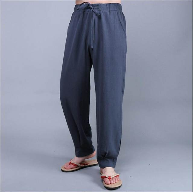92d83bb8310 M-4XL Chinese style men fashion casual pants loose linen wide leg pants  large size trousers cotton casual pants singe costumes
