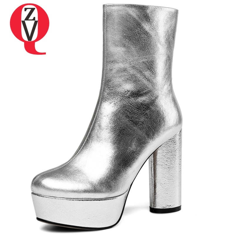 ZVQ hot sale 2018 newest genuine leather super high strange style platform zip round toe women shoes winter party mid calf boots concise style black pu leather stiletto heels mid calf boots women trendy platform super high heel boots classic back zip shoes