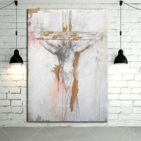 Hand painted Canvas Oil Painting Abstract Jesus Oil Paints For Wall Decoration Handmade God Christian Oil Craft New Year Gifts