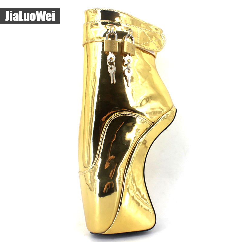 jialuowei Women 7 quot 18CM Extreme High Heels Heelless Wedge Ballet Ankle Boots crystal Sexy Fetish Padlocks Exotic Party Boots in Ankle Boots from Shoes