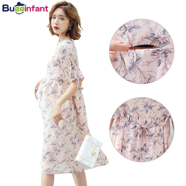 36d4022fe8f14 Floral Printed Chiffon Maternity Nursing Dress Summer Style Bohemia Breastfeeding  Dresses Pregnancy Clothes for Pregnant Women