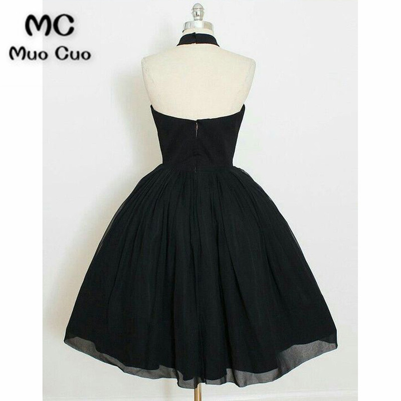 Charming A Line Halter Backless Black Chiffon Short Homecoming Dress, Little Black Dress Under100