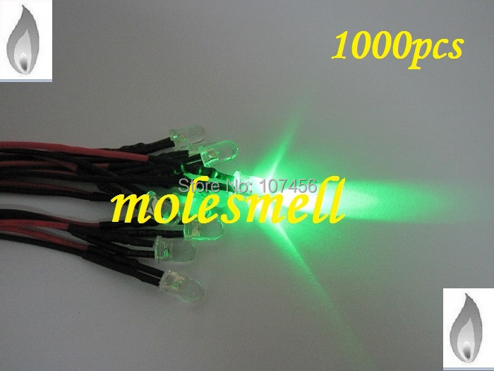 Free shipping 1000pcs 5mm green Flicker 12V Pre-Wired Water Clear LED Leds Candle green Light 20CM