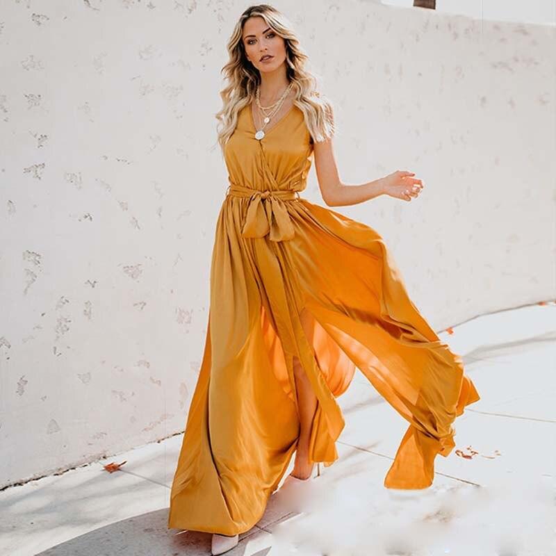 ZOGAA Yellow Dress Long Maxi Dress Sleeveless Split Lace Up V-Neck Party Dresses 2019 Elegant Boho Dress For Women Plus Size