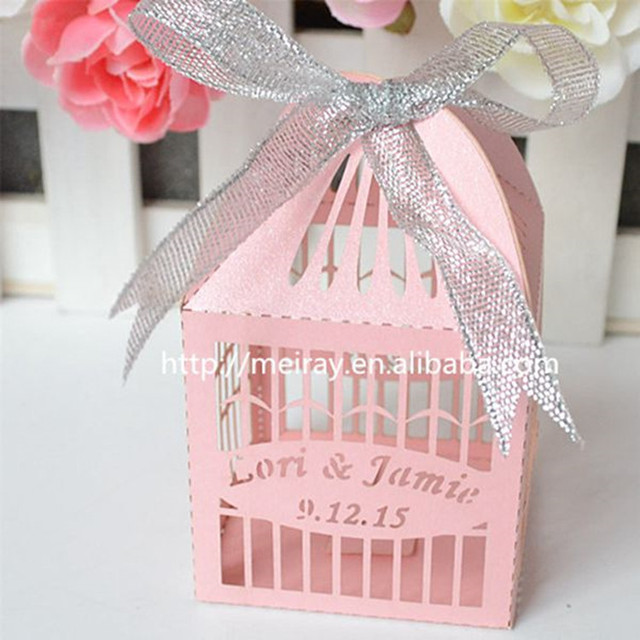 Cute laser cut birdcage love birds wedding favor box with ribbon-in ...