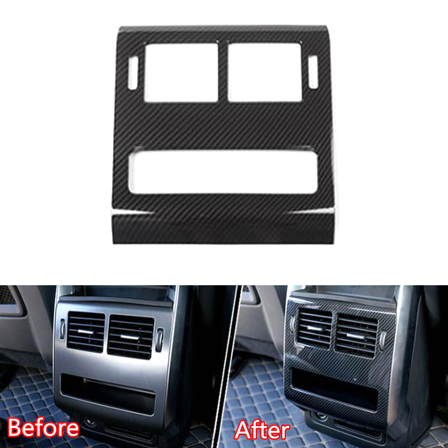 YAQUICKA Carbon Fiber Style Car Interior Rear Air Outlet Vent Panel Frame Trim Cover For Land Rover Range Rover Sport 2014-2017 yaquicka carbon fiber style 4x car interior door side panel cover strips trim for land rover discovery 5 2017 car styling covers