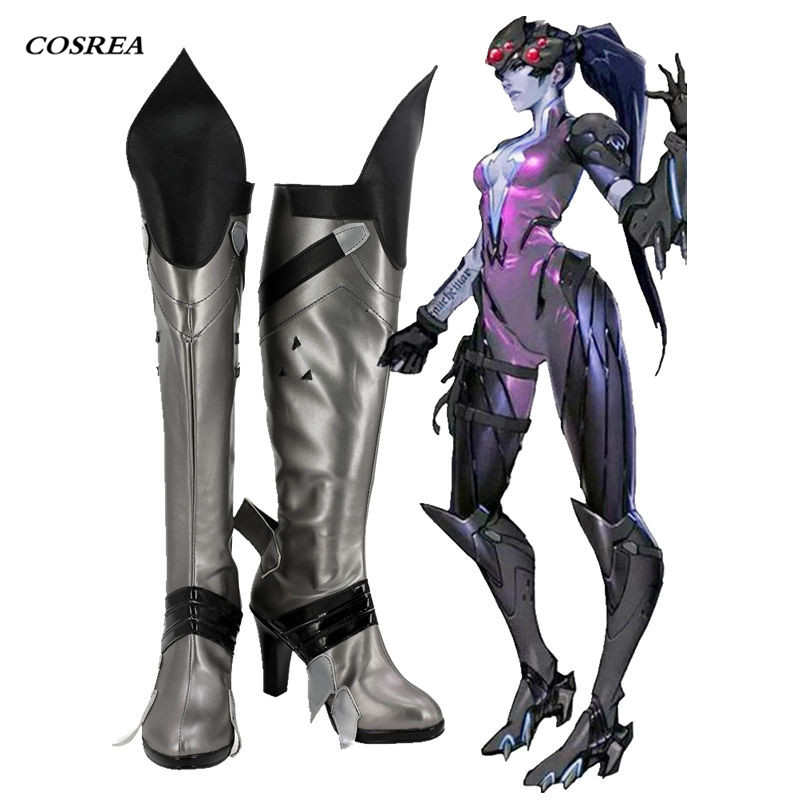 COSREA Hot Game OW Cosplay Costume Widowmaker Superhero High Heel Boots Cosplay Halloween Party Shoes For Adult Woman