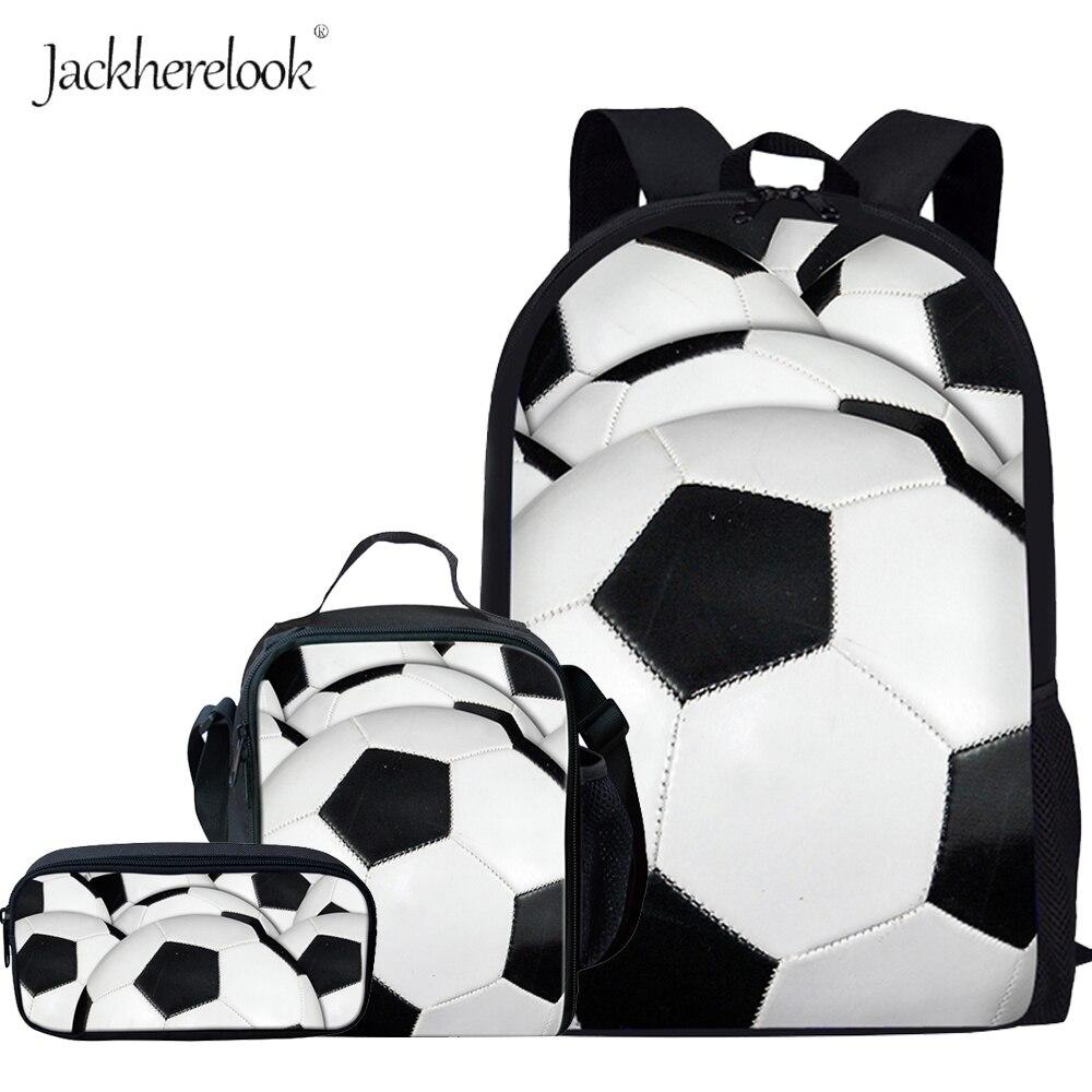 Jackherelook Puzzle Ball Foot Ball Basketball Pattern Kids Boys 3PCS Set Backpacks Middle School Students Schoolbags Big Bookbag