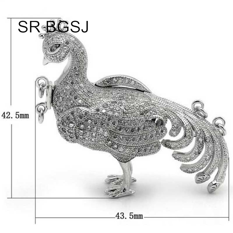 Livraison gratuite en gros bijoux bricolage Micro incrustation Zircon paon 925 argent collier fermoir - 3
