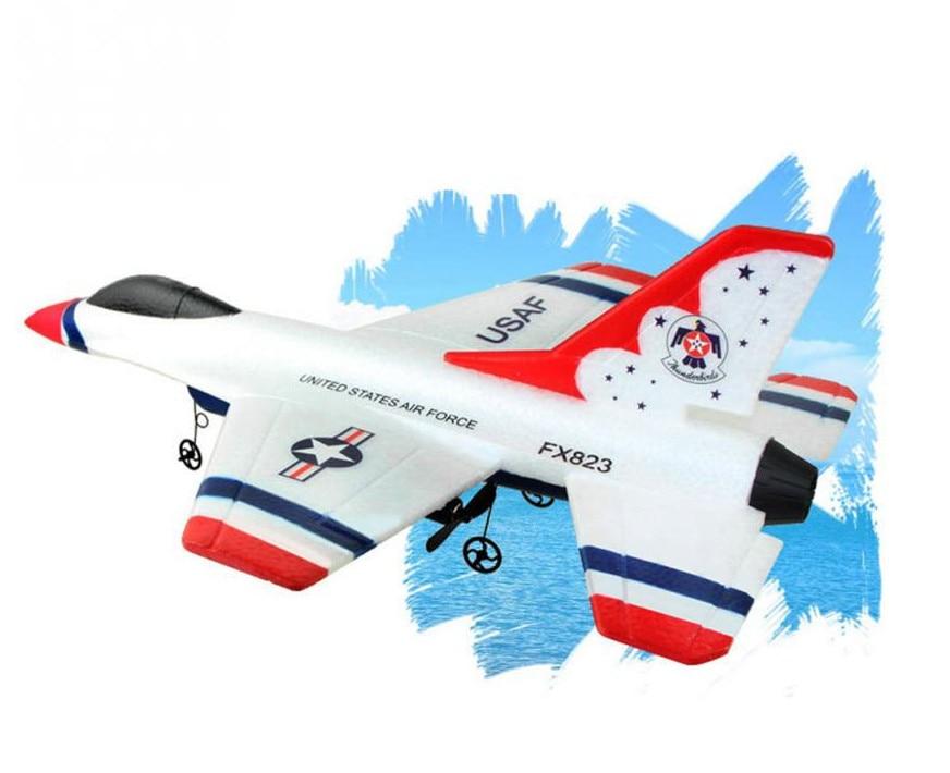 все цены на Mini EPP RC Glider toys for children FX-823 2.4G 2CH F16 Thunderbirds Remote Control Airplane
