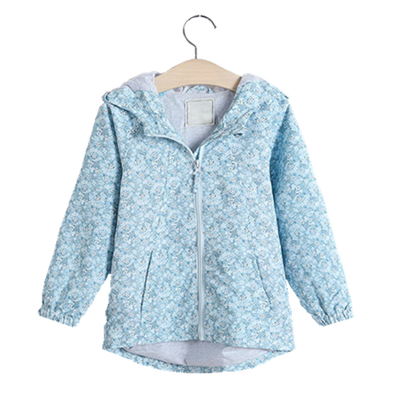 Autumn Baby Girl jacket blue print flower kids jacket For Girls coat long sleeve new year costume christmas clothes thanksgiving ethnic style flower print black and white collar long sleeve bomber jacket