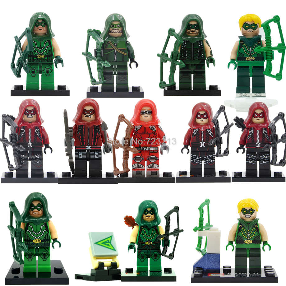 DC Super Hero Green Arrow Figure Justice League Oliver Queen Single Sale Red Arrow Roy Model Building Blocks kits Toys green arrow canary vol 03