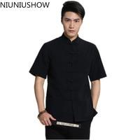 New Arrival Black Chinese Men Kung Fu Shirt Cotton Linen Wu Shu Shirts Summer Tang Suit