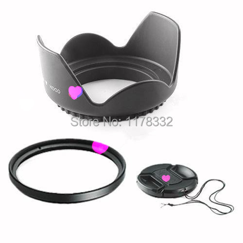 Free Shipping Wholesale 3 in1 55mm Lens Cap Cover 55mm Flower Petal Lens Hood 55mm UV