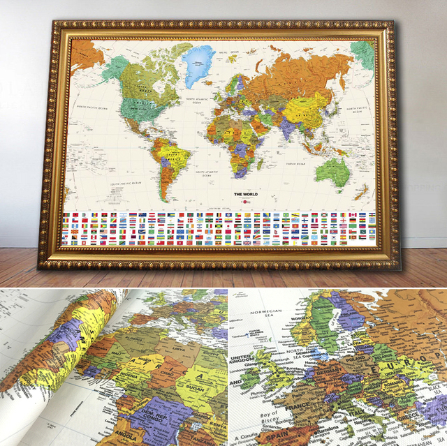 Vintage world map with flag old style oil painting unique gift vintage world map with flag old style oil painting unique gift printed on canvas home decor gumiabroncs Image collections