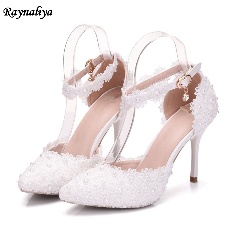 Women Sandals Elegant Thin High Heels Wedding Lace Flower Shoes Bride Dress Shoes 9.5cm Pointed Toe Heels Shoes XY-B0088 rhinestone wedding shoes ultra high heels thin heels wedding shoes aesthetic pointed toe formal dress shoes sandals