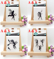 4different Design Angel Transparent Clear Silicone Stamp Seal For DIY Scrapbooking Photo Album Decorative Clear Stamp