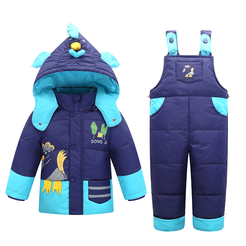 Winter Down Jackets For Boys Girls Kids Snowsuit Children Clothes Warm Jacket Toddler Outerwear Coat+Pant Clothing Set Jumpsuit 2017 winter down jackets for boys