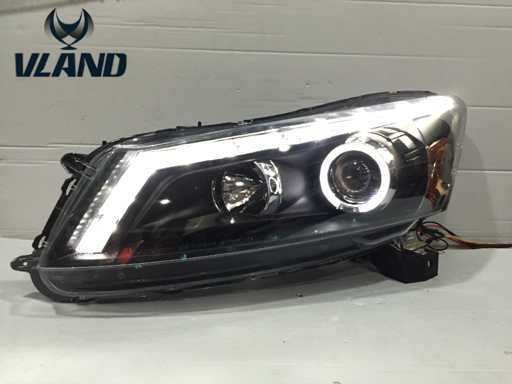 Free shipping vland 2008 2013 for Accord LED  headlight modified Best quality H7 xenon lamps with angle eyes turn Signal lamp free shipping for vland factory for car head lamp for audi for a3 led headlight 2008 2009 2010 2011 2012 year h7 xenon lens