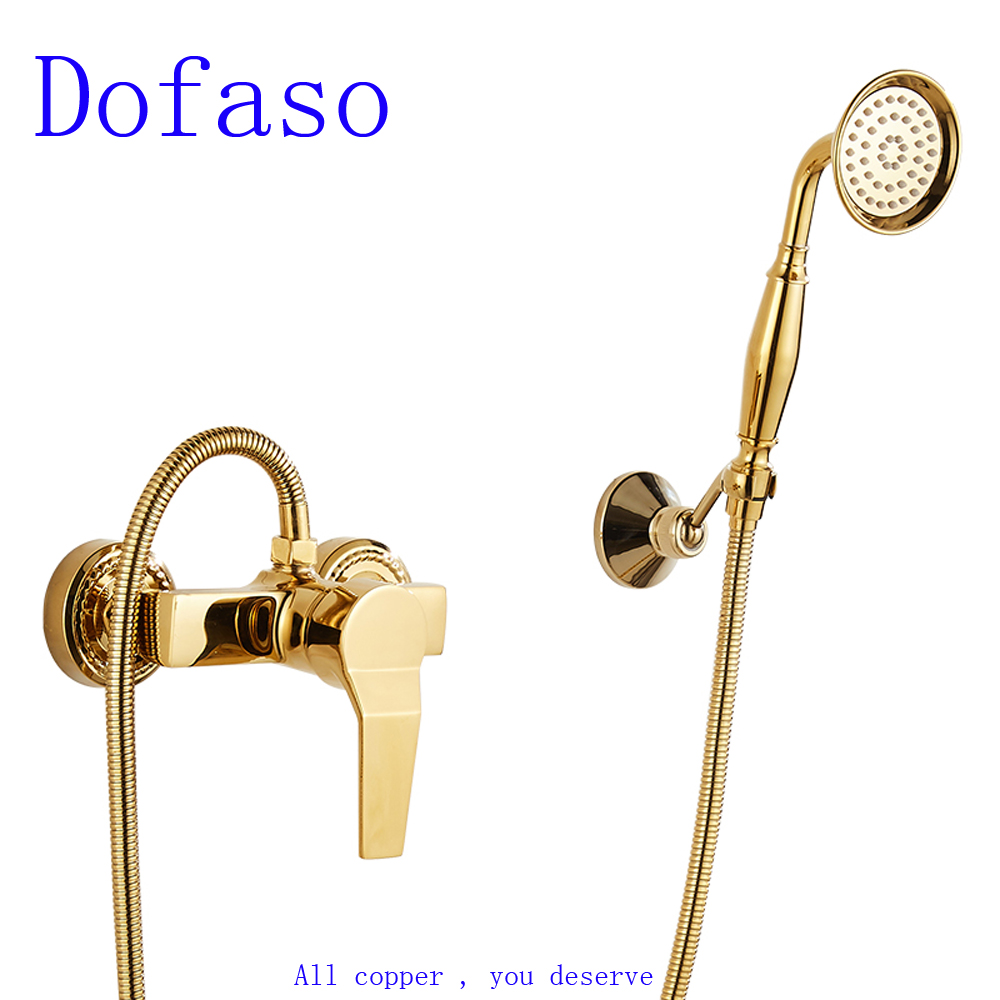 Dofaso all copper golden Simple shower faucet wall mount Bathroom Bathtub gold Faucet Mixer Tap With Hand Shower Head dofaso vintage copper black gold shower faucet and white golden shower set mixer square head shower 8 inch