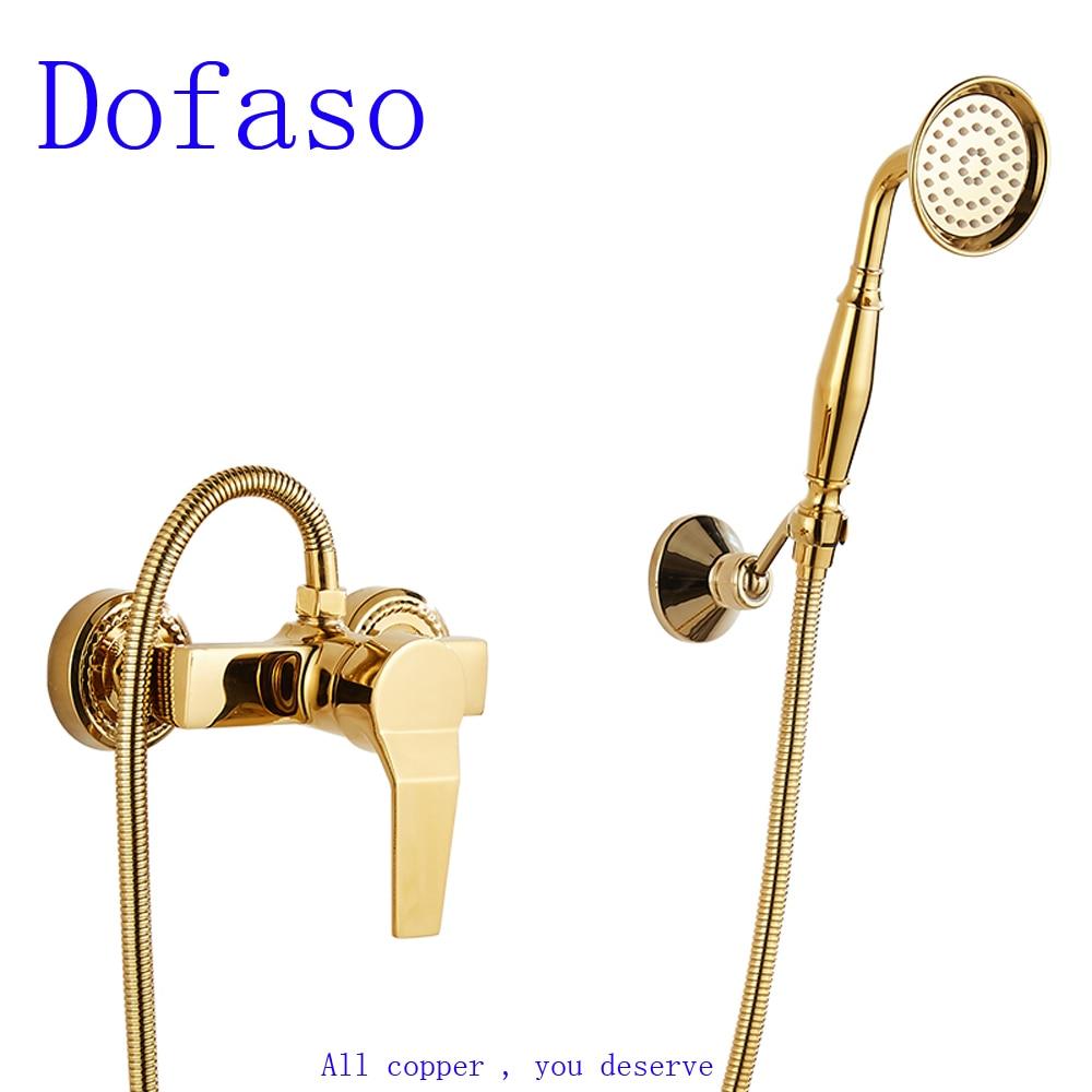 Dofaso all copper golden Simple shower faucet wall mount Bathroom Bathtub gold Faucet Mixer Tap With Hand Shower Head copper bathroom shelf basket soap dish copper storage holder silver