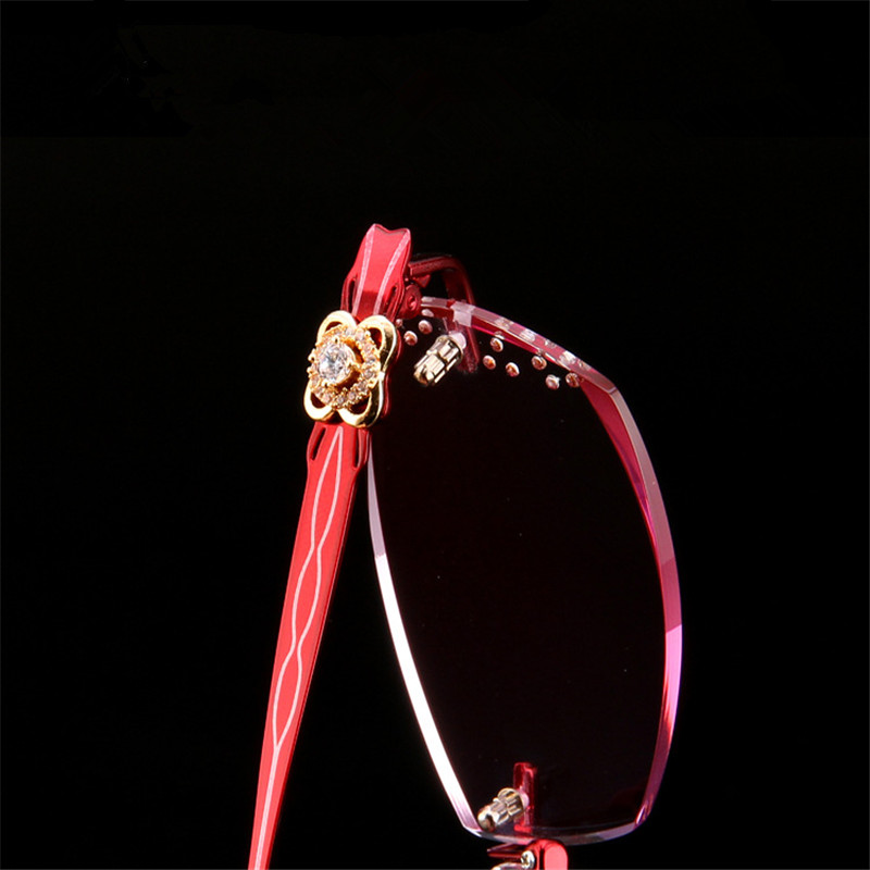 Glasses Frame Prescription Women's Rimless Titanium Pure Trim Diamond Beautiful Ultra-Light