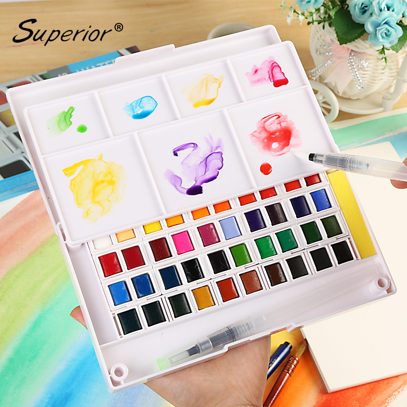 Superior 12/18/24/36/48Color Solid Watercolor Paint Box With Paintbrush Bright Color Watercolor Pigment Set For Student free shipping holbein artists 15 color solid watercolor paint solid gold box professional level incidental paintbrush