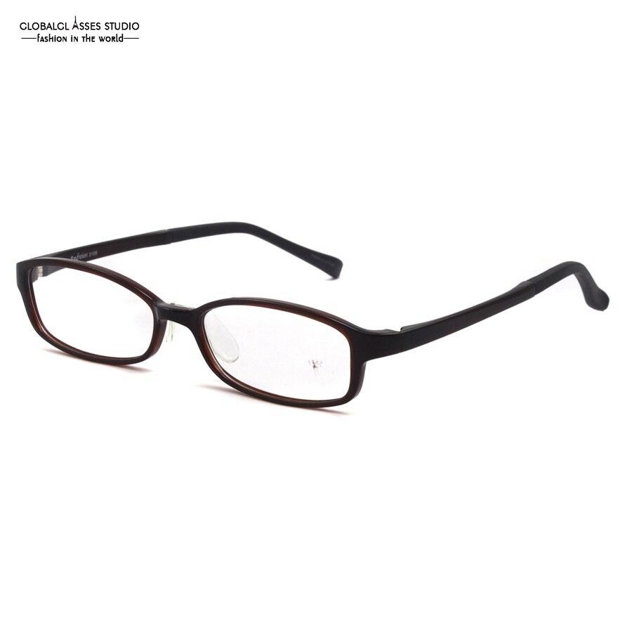 Oval Lens TR Glasses Frame Women Men Brown Color Simple Classic Design Light Flexible RX Optical Eyeglass Clean Lens 3108 C2