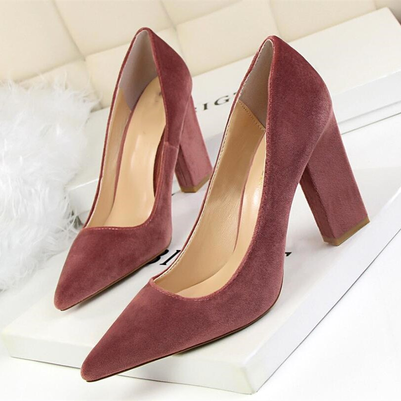 EOEODOIT Women Classic Block Heel Pumps Pointed Toe Sexy Formal Club Party Office Shoes High Heels Leather Pumps 9 CM Heel