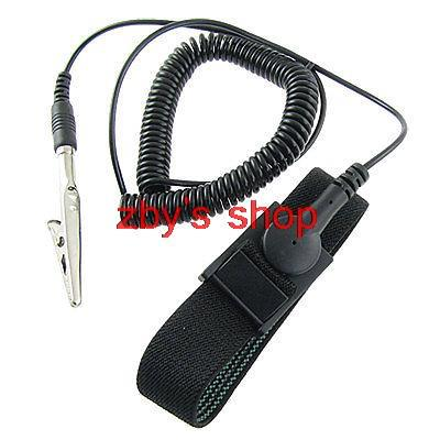 Black Anti Static Ground Wrist Strap Band ESD Bracelet with Alligator Clip US