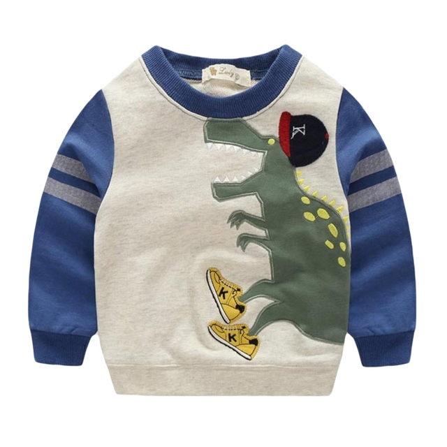 Niños bebés Sudaderas 2016 Nuevo Dinosaurio Impreso Sudaderas Con Capucha de Algodón de Manga Larga A Rayas Con Capucha Niños Outwear la Ropa de Otoño 3-7 T GT35