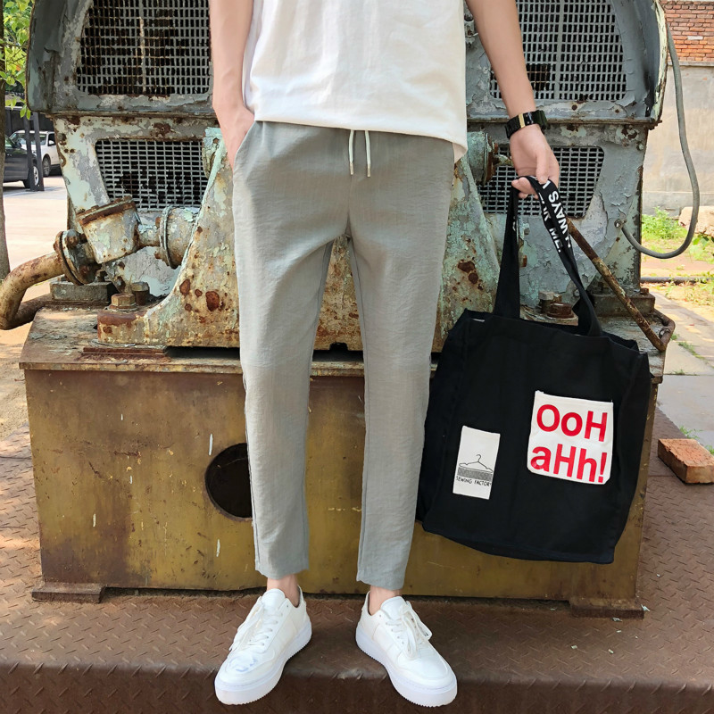 2018 New Large Street Shopkeeper Wind Elastic Force Feet Nine Part Pants Leisure Time hip hop personality city boy Fashion Best