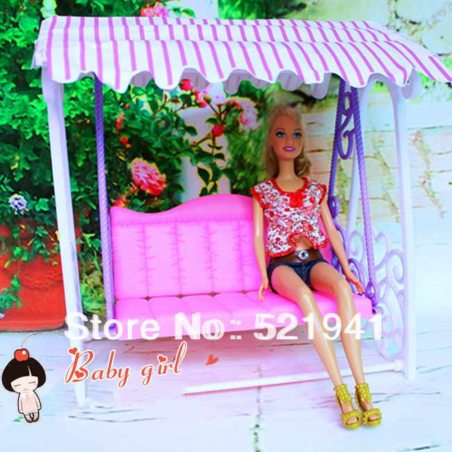 Free Delivery,women birthday Christmas reward kids play toys Doll Toy Cute Swing Equipment For Barbie Doll