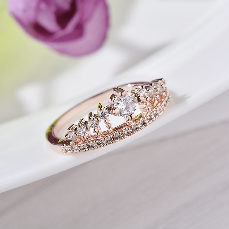 Engagement Party Ring New Fashion Crystal Rhinestone Crown Rings For Women Party Cute Elegant Luxury Sliver Plated Rings 8