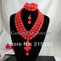 New Top Design Nigerian African Coral Beads Wedding Jewelry Set African Costume Jewelry Set Wholesale Free Shipping CJ083