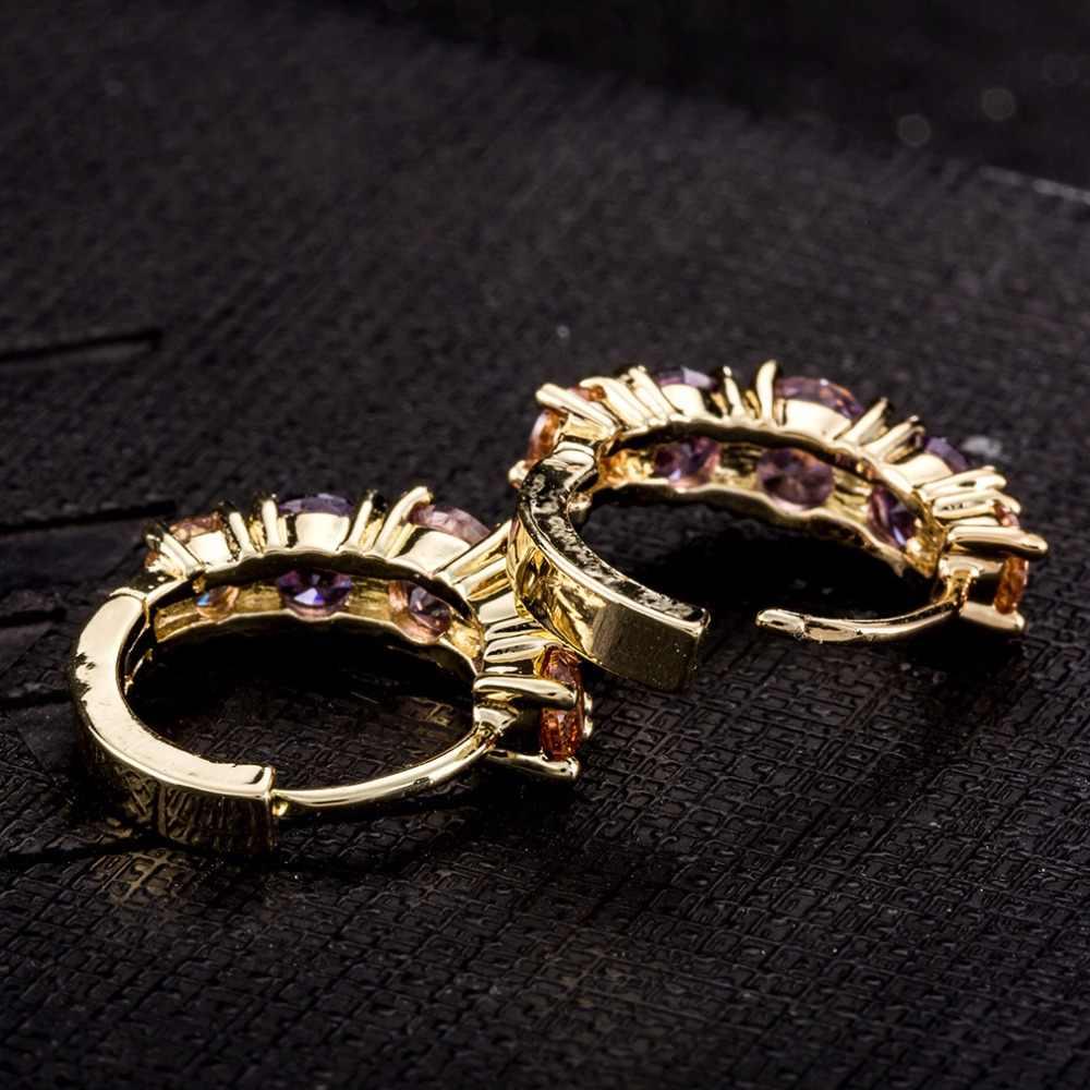 Phụ nữ Stud Bông Tai Đồ Trang Sức Thời Trang AAA Tím Zircon Tử Stud Earrings Đối Với Phụ Nữ Bán Buôn Giá Rẻ Nhà Máy Giá A12