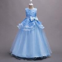 Children Performance Clothes Princess Flowers Formal Kids Pregnant Evening Ball Gown Purple Mint Sky Blue Wedding Dress